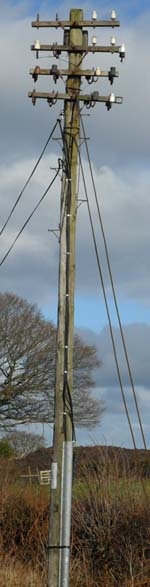 A battered telegraph pole on the B5105