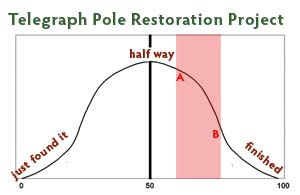 Graph showing where I'm up to in my telegraph pole restoration.,