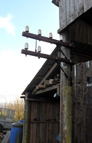 Restored telegraph pole fitted to my pole barn