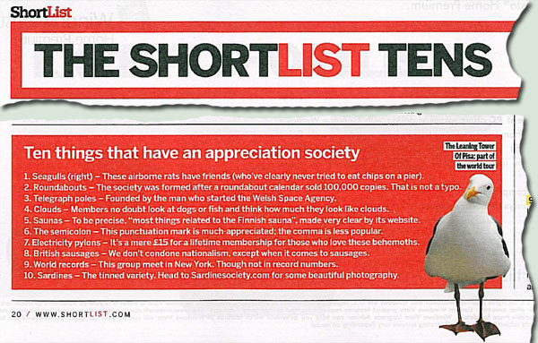 Number 3 in shortlist magazine's top 10.